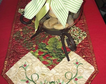 Gorgeous Embroidered and Quilted Christmas Tablerunner -- Pieced, Quilted, Embroidered, Metallic Fabric