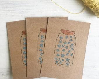 jar of stars - wool - kilner jar - mason jar - lino carve - block print - handmade - yarn addict