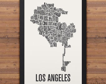 Los Angeles Neighborhood Typography City Map Print