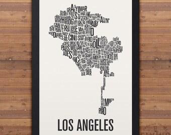 Los Angeles Nachbarschaft Typografie Stadt Karte drucken