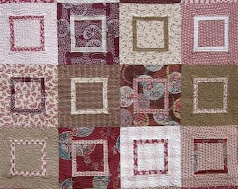 Patchwork Quilt - burgundy, brown and beige Japanese Berkley Square
