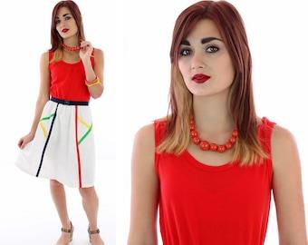 80s Colorblock Dress Vintage 70s Striped Cute A-line Retro Primary Colors Colorblocked Belt Small S Medium M