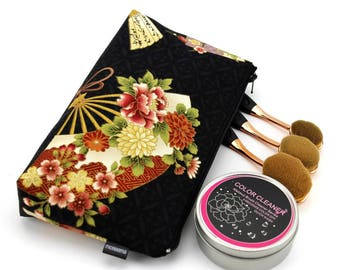 cosmetics pouch, cotton pouch, travel pouch, large cosmetic pouch, zipper cosmetic bag,Floral Sensu Black