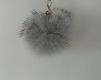 Real Fox Pom Pom .GRAY. with raccoon With Key Chain