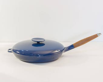 Royal Blue Enameled Mid Century Modern Saute Pan