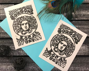 Medusa - Gorgons Local 829 - lino print art