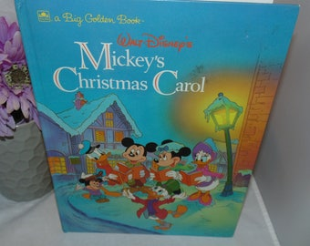 Vintage 1990 Walt Disney's Mickey's Christmas Carol HC Big Golden book Xmas