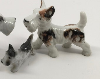 Vintage Miniature Schnauzer Mama and Puppy Made in Japan Porcelain 1950s Set of Two Figurines