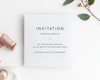 5x7 Invitation Printing Service | Includes White Envelopes
