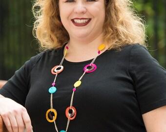 Multi-color long necklace