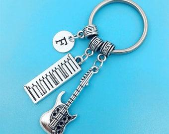 Keyboard Keychain, Keyboardist key Chains, Best Friend Keychains, Guitar Keyring, Keyboard Key Ring, Custom Charm Keychain, Keyboard Player