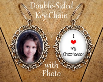SALE! Double-Sided Keychain with Photo - I love my Cheerleader - Photo Key Chain-  - Cyber Monday