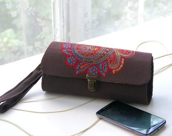 Smartphone wallet clutch - large- phone wallet, iphone 6 7 plus case holder brown wallet android case, roomy handmade wristlet READY TO SHIP