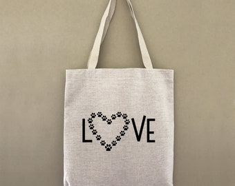 Custom Tote Bag Love Paw Print Customizable Personalized Gift For Her Gift For Him Dog Cat Animal Lover Farmers Market Shopping Bulk
