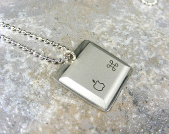 Apple iNecklace - Sterling Silver Recycled Computer keyboard Jewelry, Mac - sterling silver chain, wedding, birthday, anniversary, gift