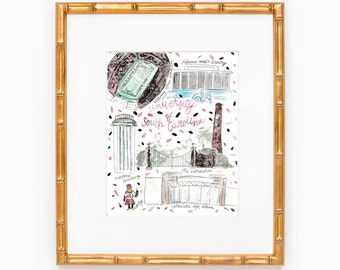 University of South Carolina Map Print
