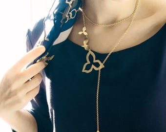 Gold Statement Necklace | Long Lariat Statement Necklace | Long Lariat Necklace |  Leaf Statement Necklace | Multilayered  Long Necklace