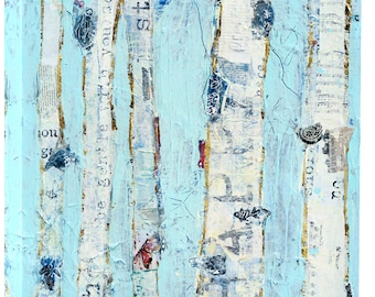 Far From Blue, mixed media blue aspen forest print