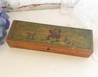 Antique Jack Horner Wood Litho Pencil box, Nursery rhyme, mother goose, fairytale, dovetail, Toy, retro, kitsch, kid, children