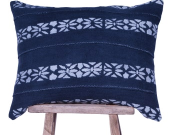 """Authentic African Mudcloth Blue and White Patterned Pillow Cover 16""""x20"""""""