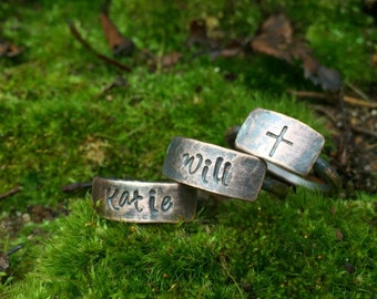 Rustic Copper Stack Nesting Rings - Custom Stamped Personalized Name Gifts for Mom / Grandmother / Aunt - Mother's Day or 7th Anniversary
