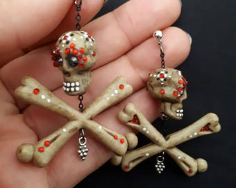 Natural Skull and Crossbone Earrings