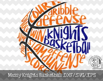Messy Knights basketball design INSTANT DOWNLOAD in dxf/svg/eps for use with programs such as Silhouette Studio and Cricut Design Space