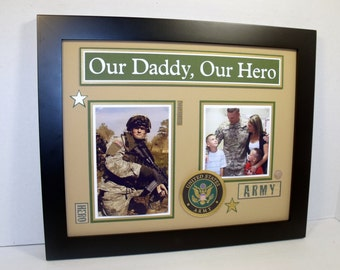 Dad Hero Frame - Military Themed - Daddy a Son's Daughter's First Hero - 11x14 Frame Included - Army, Navy, Air Force, Marine - ANY COLORS