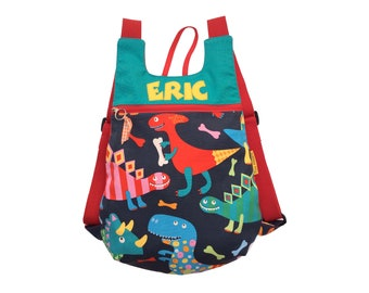 Fabric backpack, dinosaur backpack, child backpack, children backpack, School backpack, children backpack, Kids backpack,