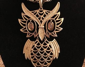Vintage Owl Necklace Pendant Long Gold Tone Chain 70's 80's