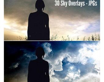 30 Sky Overlays, Sky Overlay, Sky Background, Photography Overlay, Sky, Clip Art, Sky Photo, Sky Photography, Photoshop Overlays, Skies
