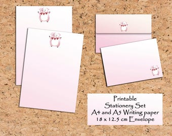 Printable Writing paper Pink Pig Writing set Digital Scrapbooking Scrapbooking paper and envelope Stationery Set Digital download