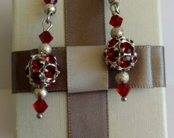 Swarovski and silver Red pearl earrings
