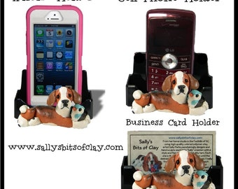 Beagle dog with bird Holder for Cell Phone IPod IPhone or Business Cards OOAK by Sally's Bits of Clay