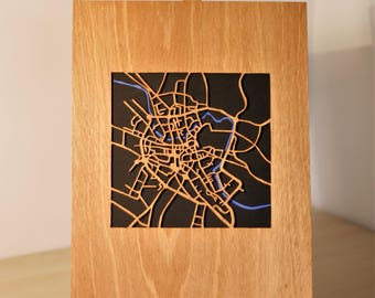 wooden map of the streets of Norwich