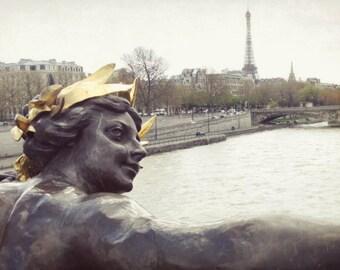 "Paris photography Eiffel tower Paris bridge large wall art neutral gold gray art  ""Gold Adorned"""