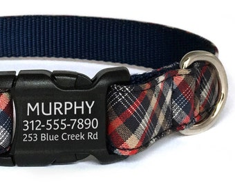 Personalized Dog Collar in a Red, White and Blue Plaid with Laser Engraved Buckle - ID Dog Collar - Dog Collar Personalization -