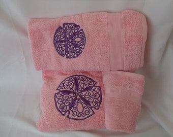 Embroidered Sand Dollar 3pc bath towels set