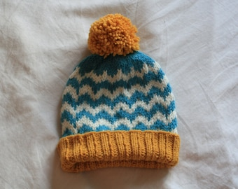 Knit Beanie Hat in Mustard Yellow, White and Sea Blue // Winter Hat with Pom Pom