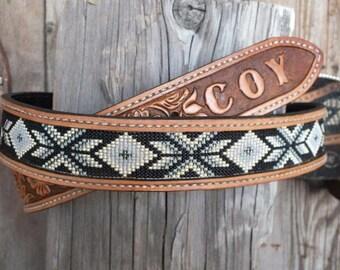 Mens or Ladies Beaded Leather Belt
