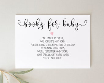 Books for Baby Request | Printable Insert | Instant Download | Baby Shower Book Request Insert