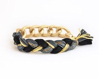 Charcoal gray braid bracelet with chunky chain, boho bracelet, gray bracelet