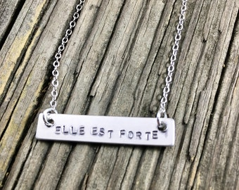Elle Est Forte Necklace, She is strong, French, boho, gift for her, copper, enameled, aluminum, silver, hand stamped