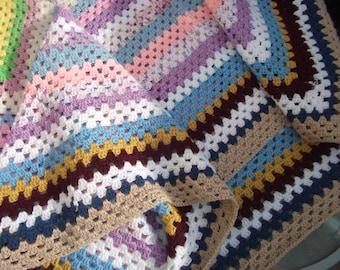 Vintage Style Handmade Crochet Granny Blanket NEW