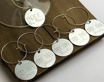 Engraved Wine Charms - Bridal Shower Gift | Set of 4 5 6 7 8 | Stainless Steel | Personalized | Bride Tribe | Bridal Party | Bridesmaids