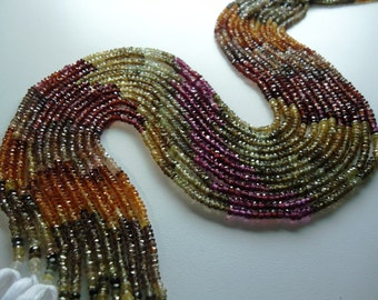Tundra Garnet  Faceted Machine Cut Roundel  3.50  To 3.90 mm String Length Is 13'' inch 1 strand.
