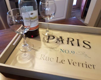 Large Paris Themed Serving Tray