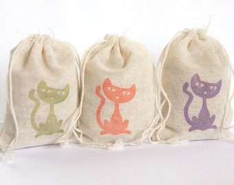 Halloween Cat Bags Set 15 with stamp gift sack halloween party goodies treat bag