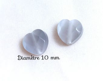 2 glass beads faceted heart - 10 mm - grey cat's eye