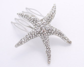 Starfish Hair Comb, Bridal Hair Clip, Beach Wedding Headpiece, Rhinestone Silver Starfish Comb, Beach Wedding Hair Accessories, Bridal Comb
